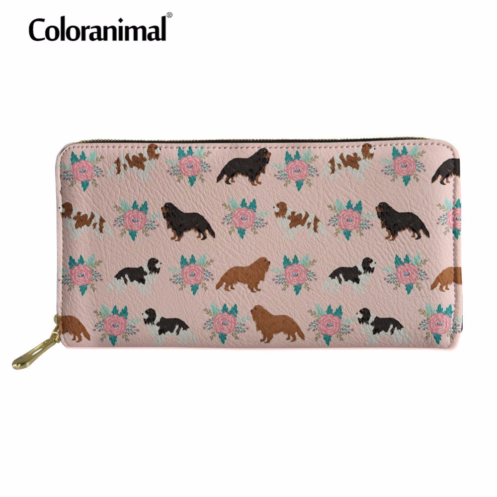Coloranimal Cavalier King Charles Spaniel Wallets 3D Print Women Men Tote Shopper Cash Money Pocket Card Holder Leather Purse