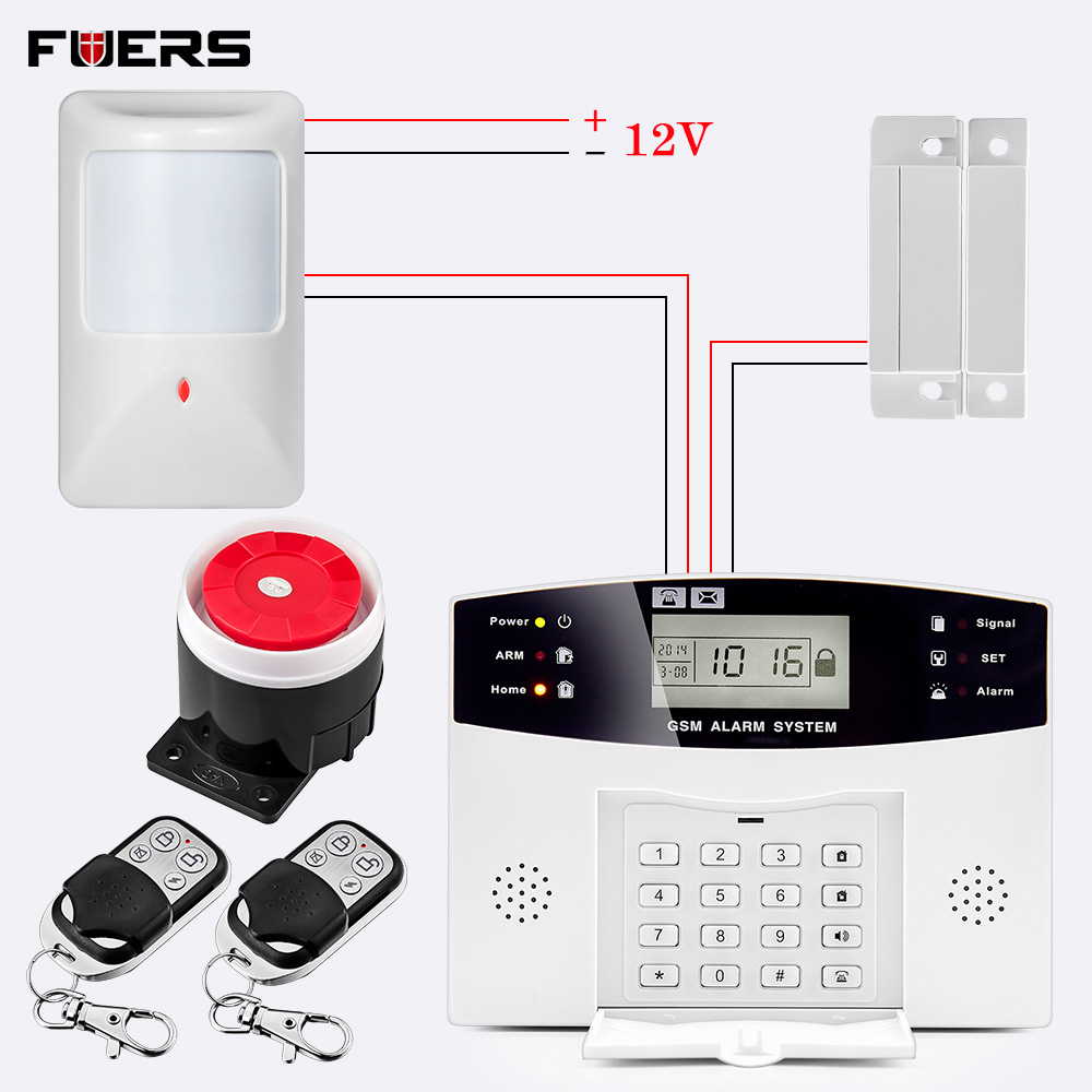 Fuers Intelligent Smart DP500 LCD Screen Voice Prompt SMS Push Wired Wireless Home Security Protect Anti-theft GSM Alarm System
