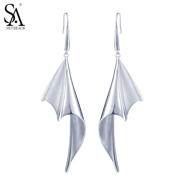 SA SILVERAGE 925 Sterling Silver Drop Dangle Earrings For Women Fine Jewelry Bat Wings 2017 New Arrival
