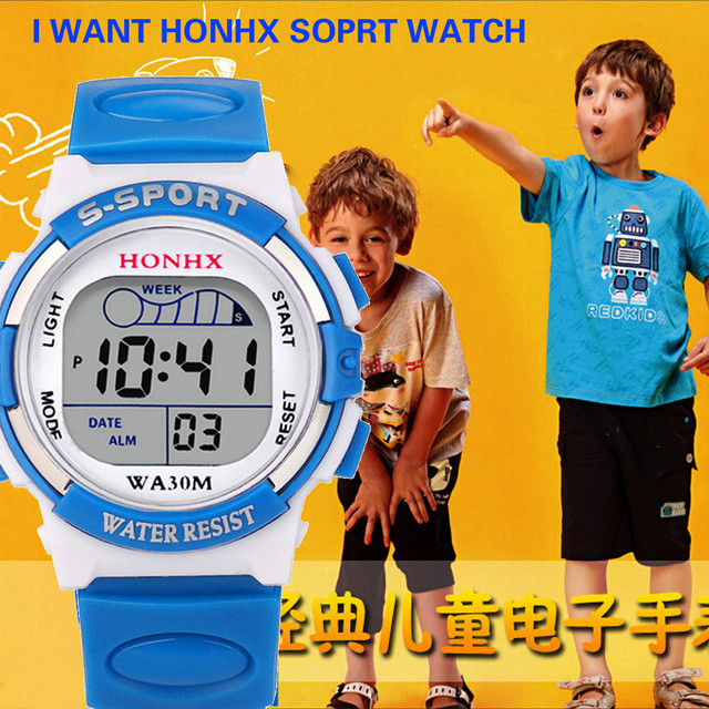 HOT Children Boy Digital LED Quartz Alarm Date Sports Rubber Sports Electronic W