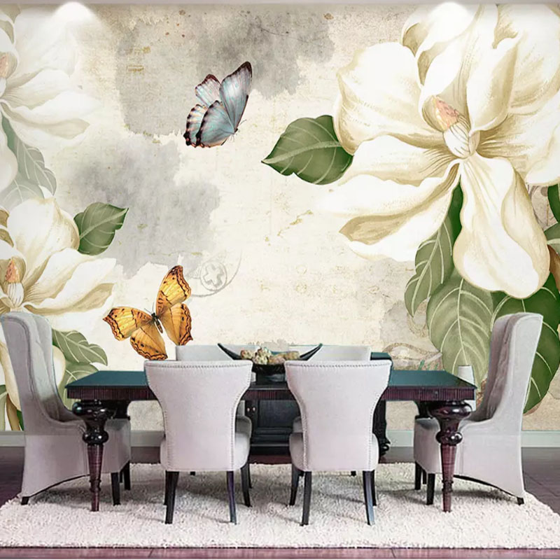 Us 11 23 42 Off Custom Photo Floral Wallpaper Hand Painted Flowers Garden Wallpaper Wall Painting Fashion Living Room Bedroom Wallpaper Murals In