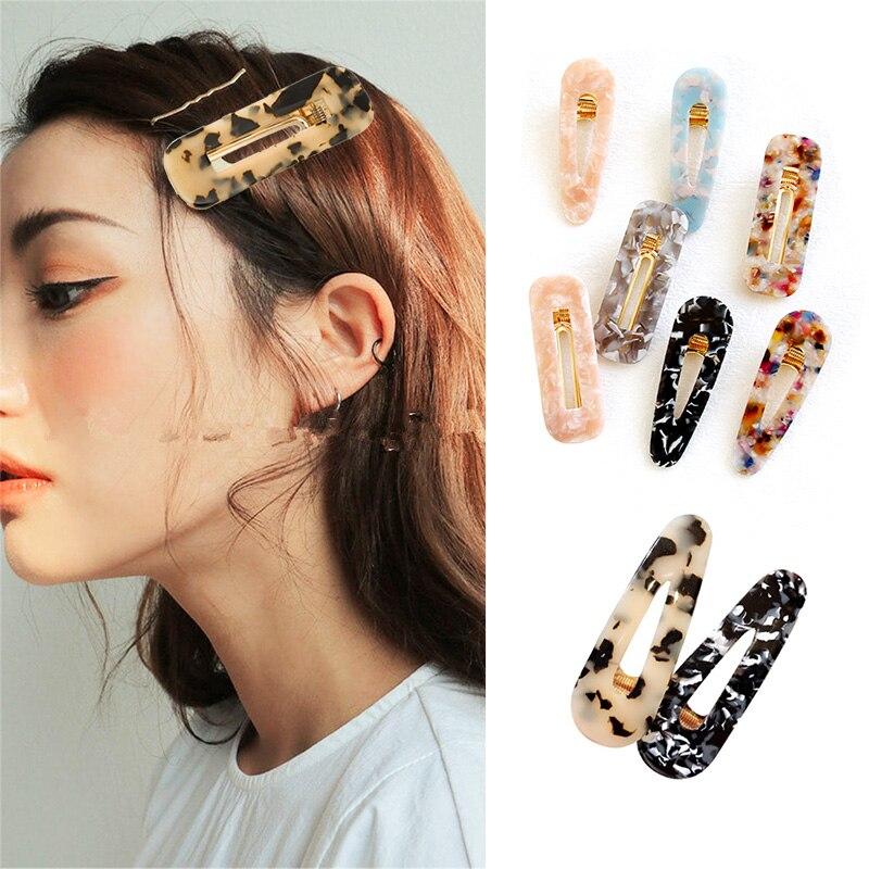 2019 Acrylic Hollow Waterdrop Rectangle Hair Clips Tin Foil Sequins Hairpins Barrettes Acetate Headband Hair Accessories Women