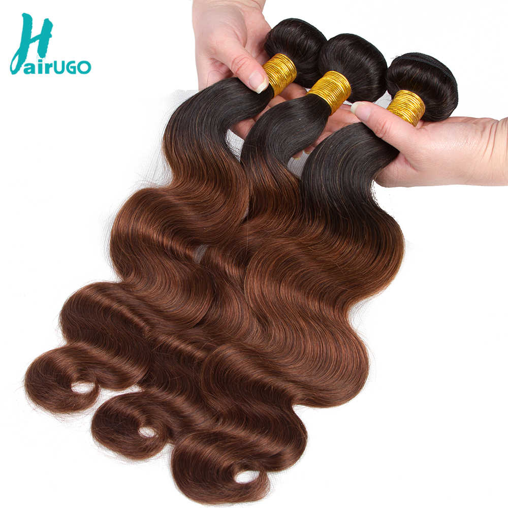 HairUGo Peruvian Hair Body Wave Bundles T1B/Burgundy Purple Omber Human Hair Bundles Can Buy With Closure Double Weft Remy Hair