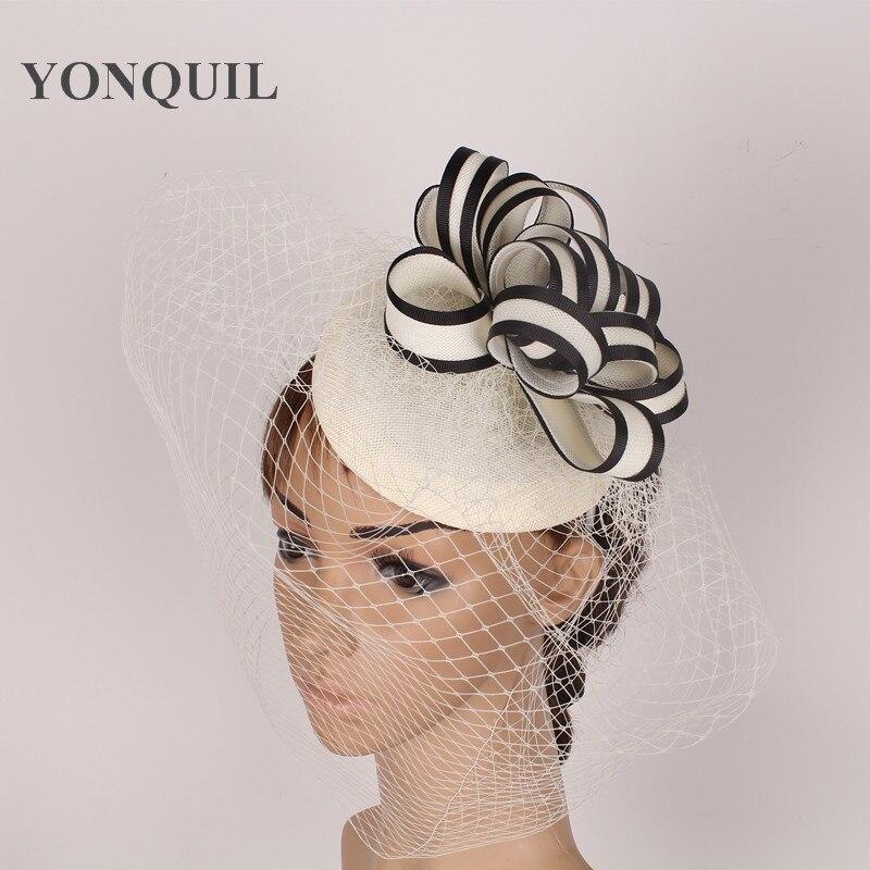 Neue Ankunft Elegante Frauen Partei Elfenbein Fascinator Hut Braut
