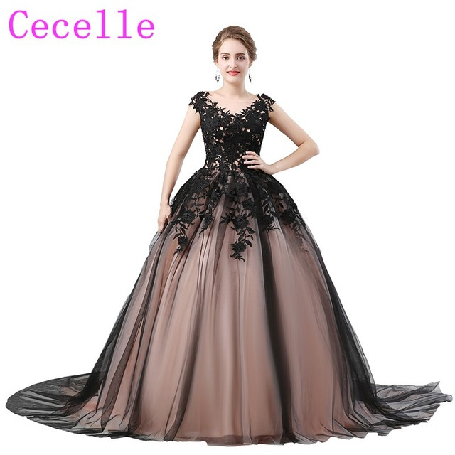 Black Ball Gown Gothic Prom Dresses V Neck Lace Up Back 2018 New