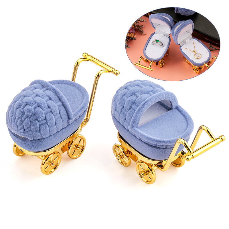 1 Piece Lovely Baby Carriage Velvet Jewelry Box Wedding Ring Box Gift Box Holder Case For Earrings Necklaces Bracelets Display