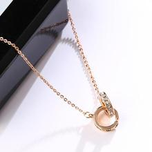 Stainless Steel Double Circle Roman Numerals Pendant Necklaces Trendy Chokers Necklace For Women Valentines Day