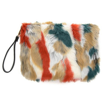 Faux Fur Crossbody Bag | Fashion Mixed Colors Women Faux Fur Clutches Envelop Luxury Handbags Hit Color Ladies Flap Soft Messenger Bags Female  Pu