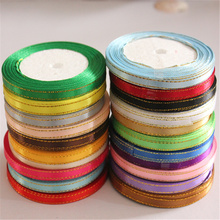 Silk Satin Gold Ribbon 6mm 25Yards 22 Meters DIY Handmade Craft Wedding Party Decoration Gift Wrapping Scrapbooking Supplies