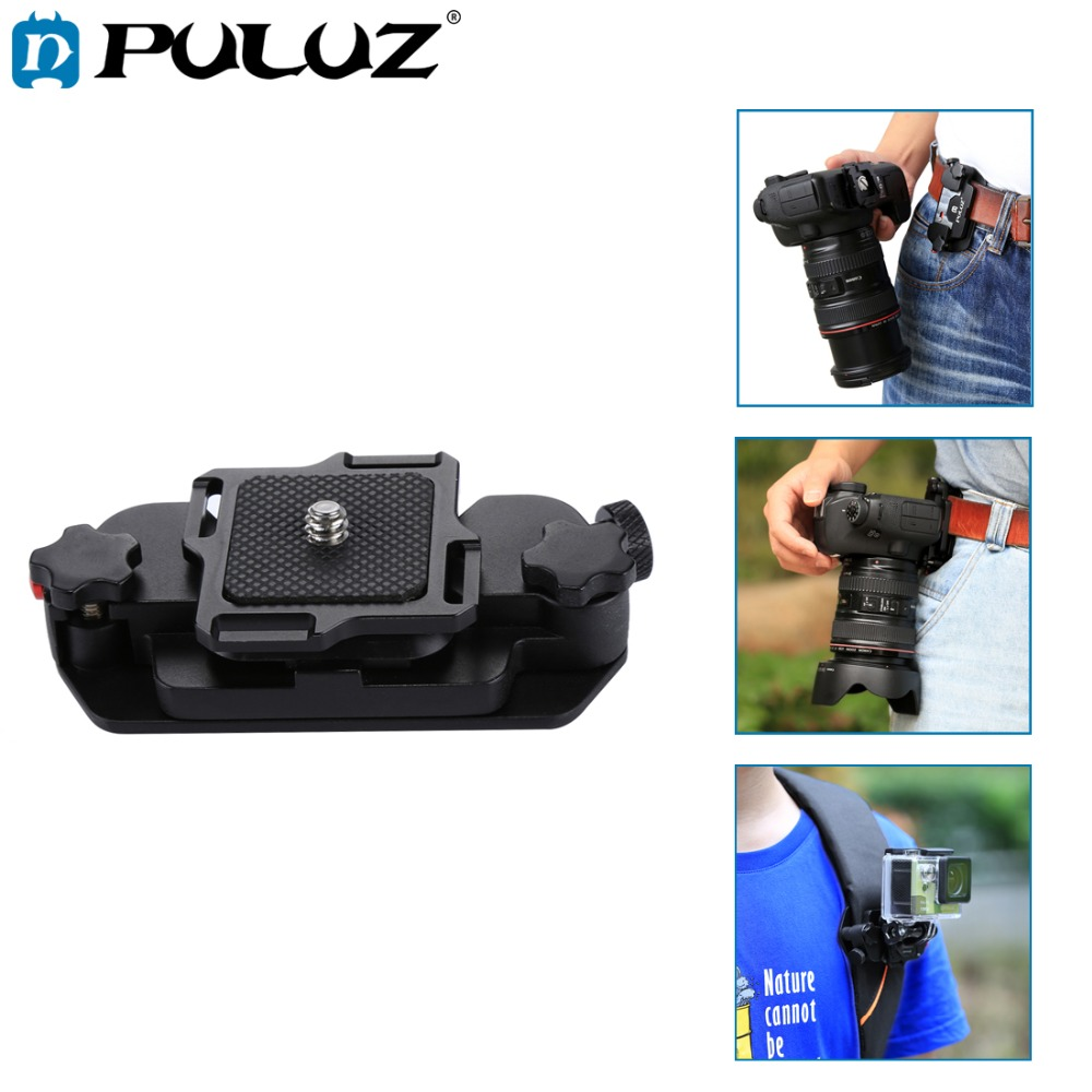 PULUZ Capture Camera Clip Holster Aluminum Alloy Quick Strap Buckle Quick Release Clip Plate w/h 1/4 tripod Screw for GoproDSLR aluminum alloy clip on quick release capo for acoustic guitar green