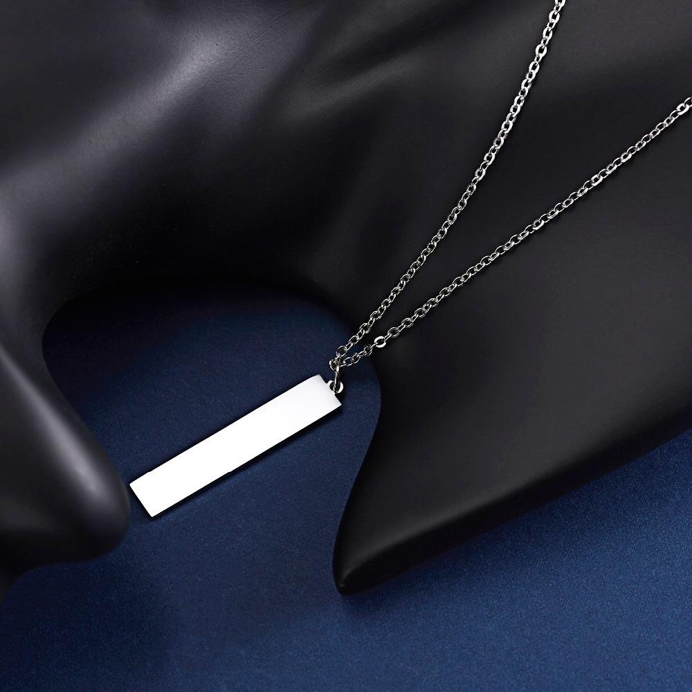 RINHOO Personalized Custom Word Necklace Pendant Women Jewelry Engrave Your Name Plate Letters Stainless Steel ID Tag Necklaces