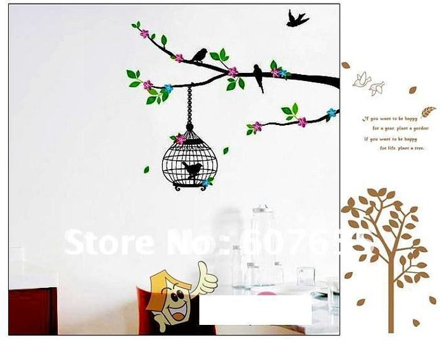 Hot sale!Free shippng!200pc/lot,60*33cm,tree bird wall sticker,decoration wallpaper,home sticker wall sticker