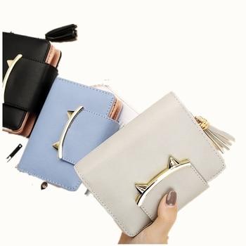 Fashion Tassel PU Leather Women Wallets  Female Cute Cat ears New Clutches Short  Card Holder Purses Coin Bags Hot Sale shoulder bag