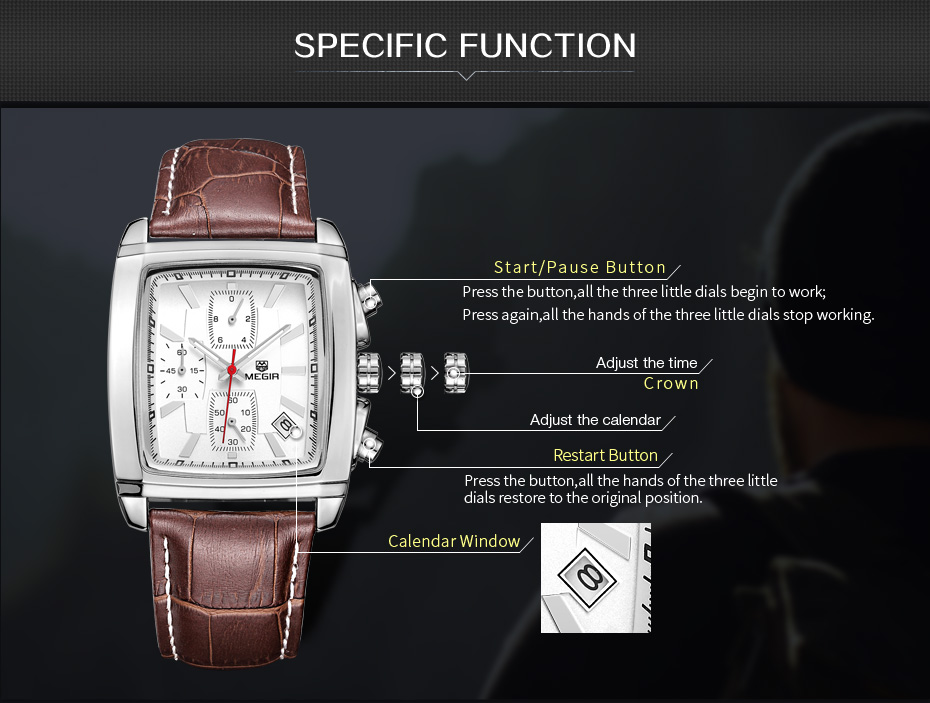 Topdudes.com - MEGIR Original Luxury Military Style Leather Dress Wristwatch