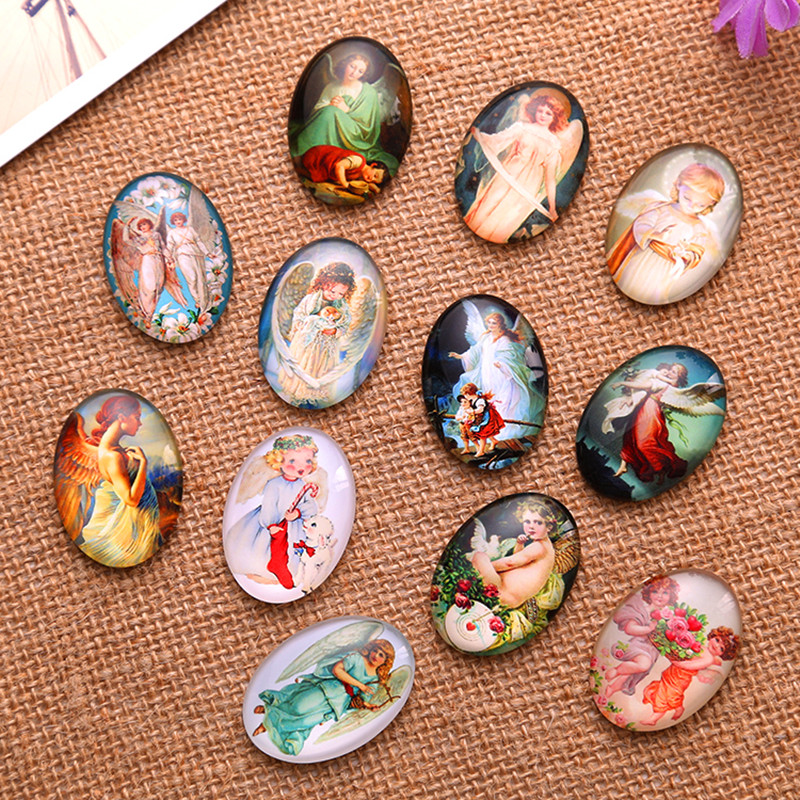 10Pcs Oval Mixed Angel Patterns Glass Dome Seals Cameos Cabochons Embellishments Scrapbook Making 40x30mm