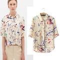 2015 SummerStyle Women Half Sleeve Turn-Down Collar Blouse Casual Slim Print Shirts Brand Tops Blusas