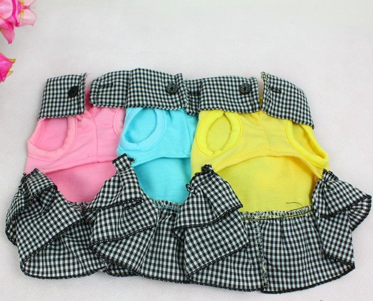 Free Shipping Grid Pattern, Cotton Hem Dog Dress + 3Colors-in Dog ...