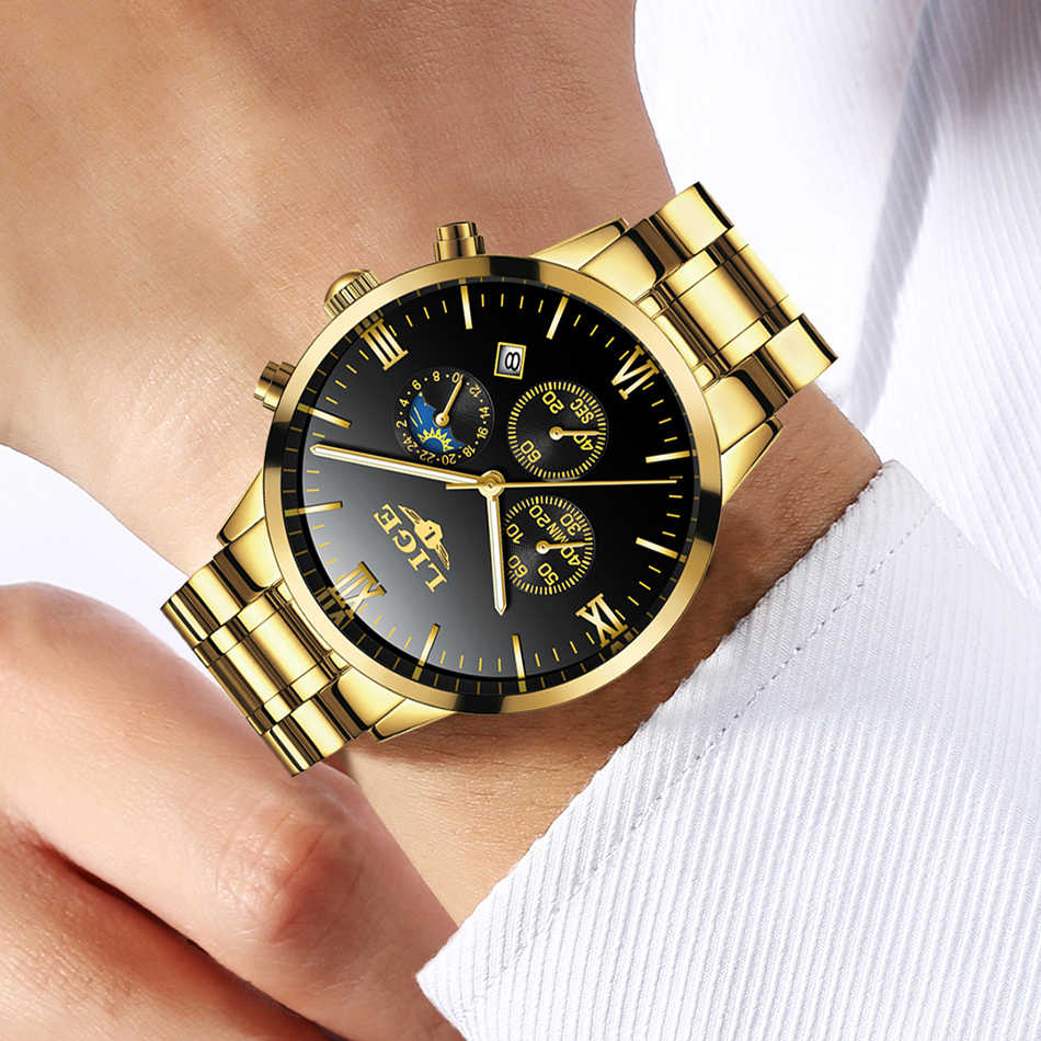 LIGE hommes montre chronographe Sport hommes montres haut marque de luxe étanche plein acier Quartz or horloge hommes Relogio Masculino