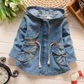Hot new fashion girls hooded windbreaker jacket waist denim line 2017 spring & autumn casual cotton children's clothing