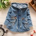 Hot new fashion girls hooded windbreaker jacket waist denim line 2017 spring & autumn casual cotton children's clothing