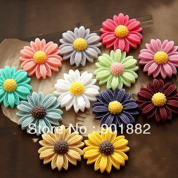 100pcs/lot Free Shipping!! 21mm Europe resin flower cabochon,resin craft cameo pendants for jewelry decoration