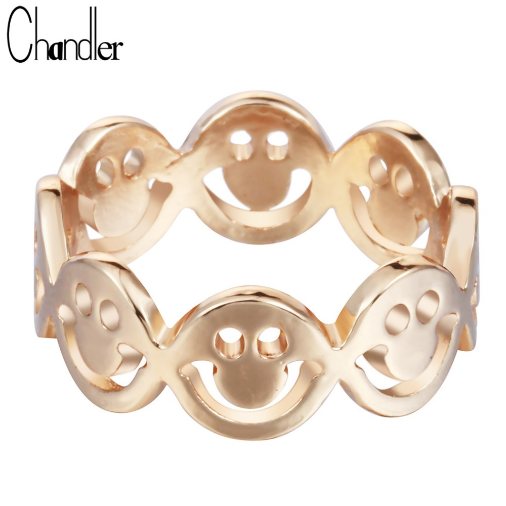 Chandler 1pcs Silver Plated Smile Face Rings Lucky smiley Happy Ringen For Women Fashion Accessaries Drop Free Shipping