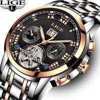 Mens Relógios Top marca de luxo relógio de Pulso mecânico Automático LIGE Homens Relógio Militar Relógio Do Esporte À Prova D' Água Relogio masculino