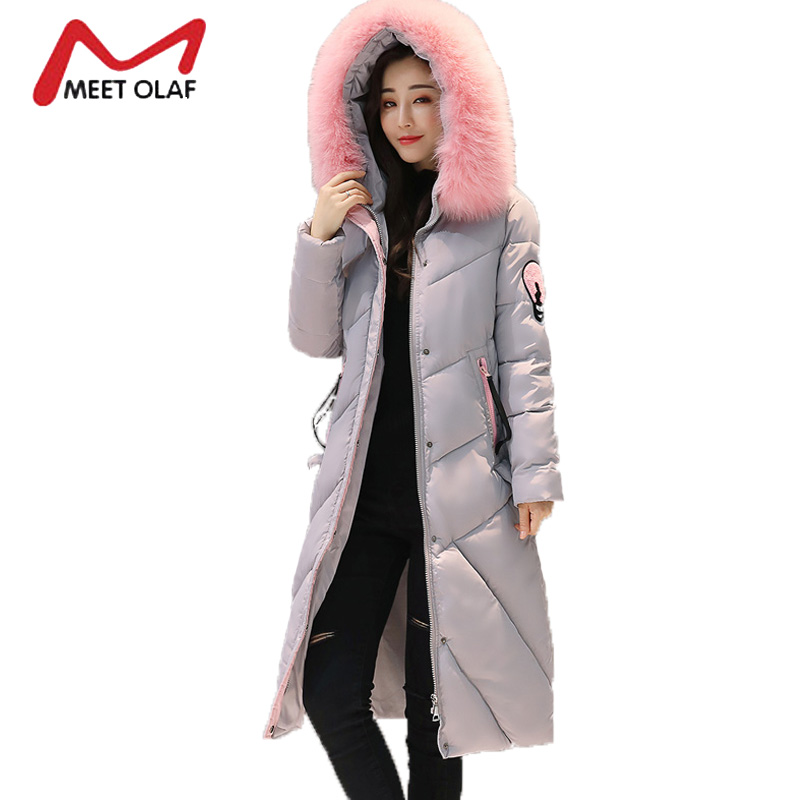 2017 Winter Down Jackets Women Winter Thick Warm Coats Long Large Fur Hood Cotton Padded Parkas  chaquetas invierno mujer Y1399
