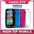 Original abierto de nokia lumia 610 windows mobile teléfono 8 gb de almacenamiento de la cámara 5.0mp gps wifi 3g reformado shippping libre de poste del sg