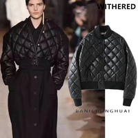 Withered BTS Winter Jacket Coat High Street Oversize Batwing Sleeve Shortlength Quilting PU Jacket Women Bomber
