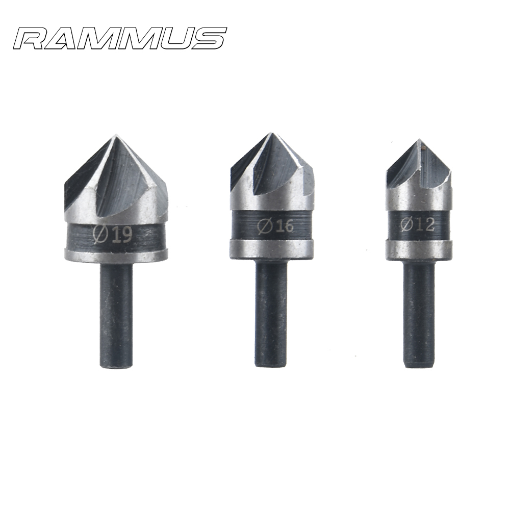90 Degree 1/4 Round handle Drill Bit 5 Flute 12-19mm Carpenter Woodworking Chamfer Counter Sink Chamfering Debur Countersink Kit