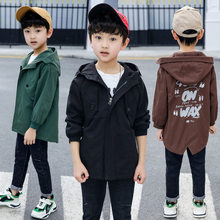 Elegant New Design Long Pattern Casual Boys Hooded Trench Coat Child 4-13 Year Autumn Spring Boys Letter Trench Jacket Outerwear