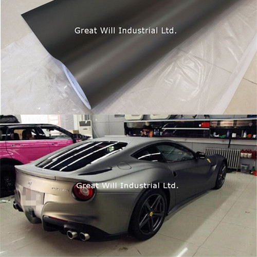 Gunmetal Satin Chrome Vinyl Wrap Film Matte Anthracite Metallic Car Wrap Cover Styling With Air Release Size 1.52x20m/Roll