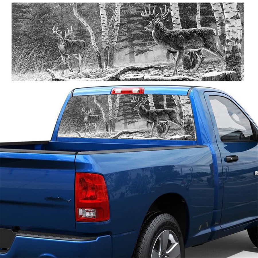135x36cm Graphic Forest Animals Deer Family Rear Window Sticker For Truck Jeep