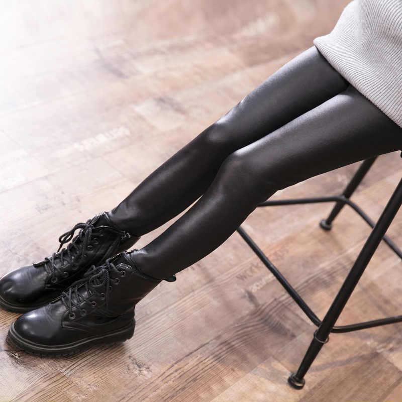 2018 Herfst & winter Meisje Legging Baby Skinny Potlood Broek Warm Houden Broek Dik Fluwelen Faux Pu Lederen Childrens Leggings