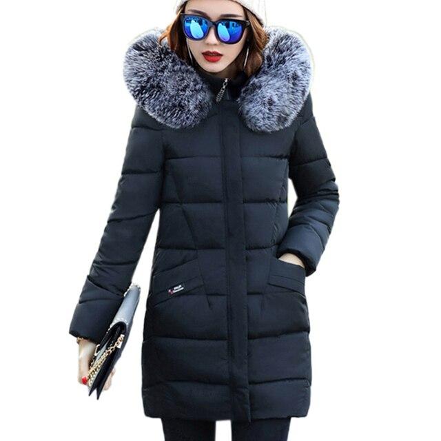 Мех животных воротник хлопковое Стеганое пальто с капюшоном большой размер зимние Для женщин парка Новый 2017 длинный отрезок Изящная верхняя одежда толстые теплые overcoatxc7