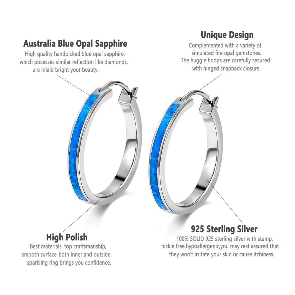 Sterling Silver Hoop with Opal Inlay Earrings
