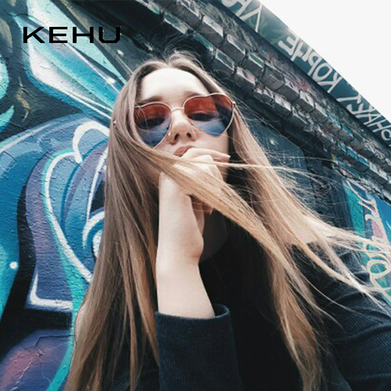 8975f98bb0634 KEHU Heart Shaped Sunglasses Women Metal Frame Reflective Lens Sun  protection Sunglasses Men Mirror De Sol Fashion k9073-in Sunglasses from  Apparel ...