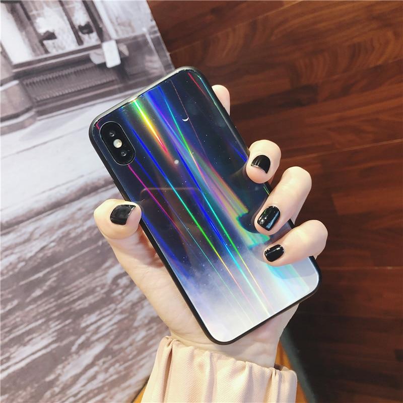 Роскошные Аврора чехол для iphone X XR XS Max случае лазер светит луна, звездное небо Чехлы для iphone 7 6 S 8 плюс Твердый Чехол