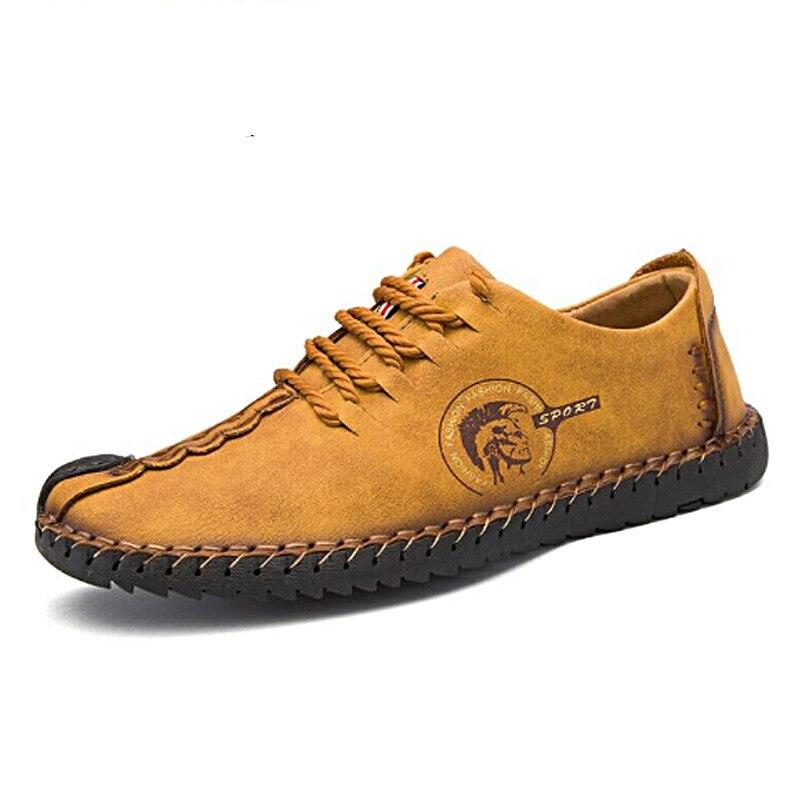 2019 New Men Casual Shoes Loafers Men Shoes Quality Split Leather Shoes Men Flats Hot Sale