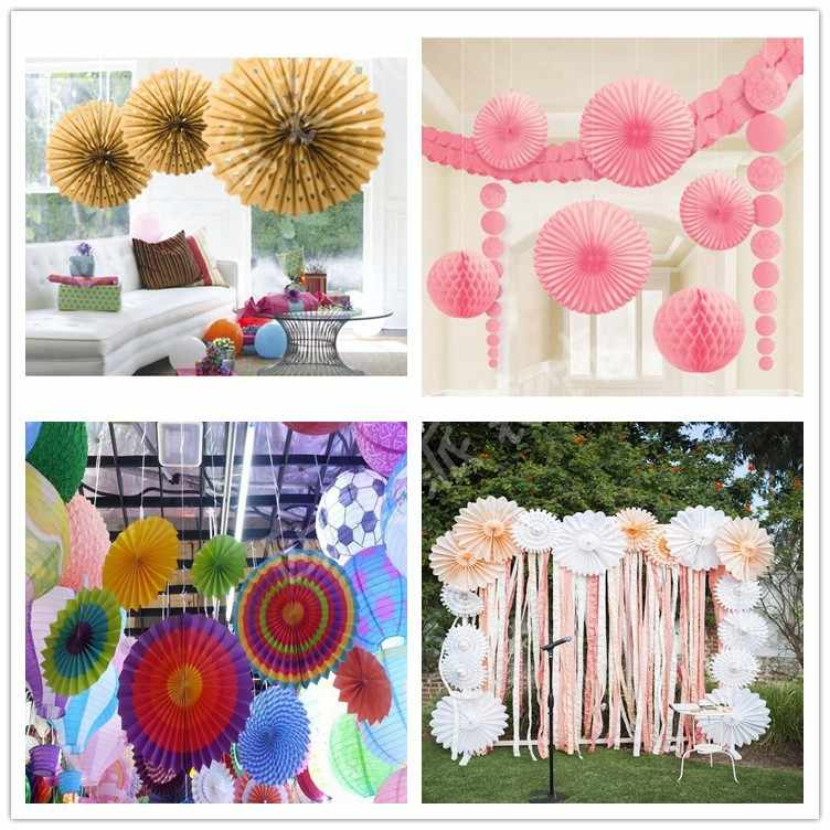 Decorative Wedding Birthday Party Paper Crafts 4'' 10cm Paper Fans DIY Hanging Tissue Paper Flower for Christmas Halloween Event