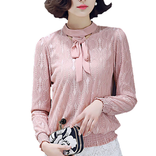 2017 Korean Formal OL Check Crochet Chiffon Blouse Shirt Women Tops Elegant Long Sleeve Bows Collar Lace Blouse Female Plus Size