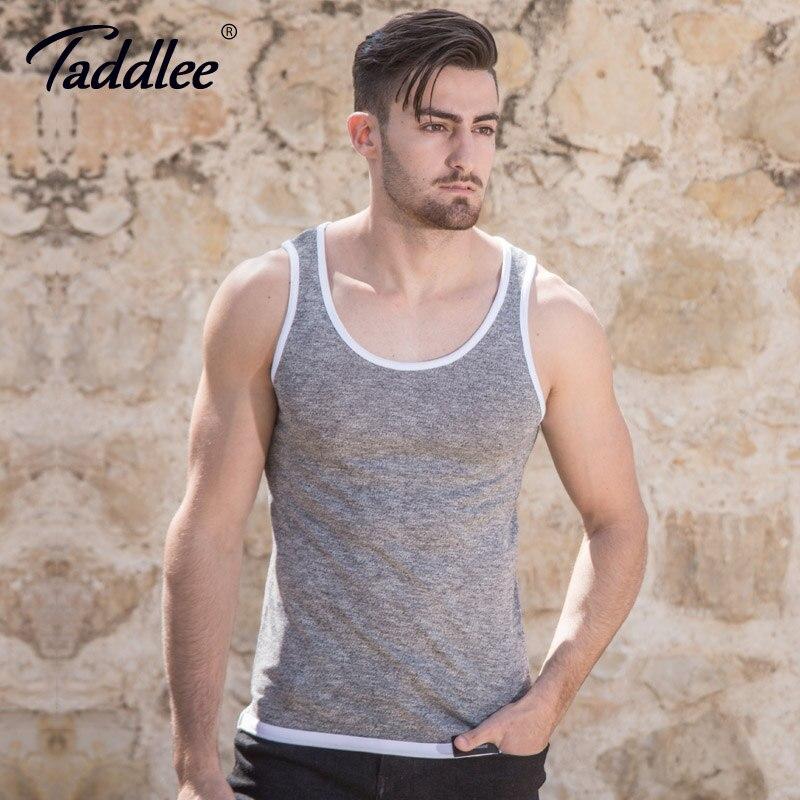 Taddlee Brand Hombres Tank Top de algodón Sin mangas Ropa suave Moda con estilo Nuevo 2018 Bodybuilding Undershirts Sólido
