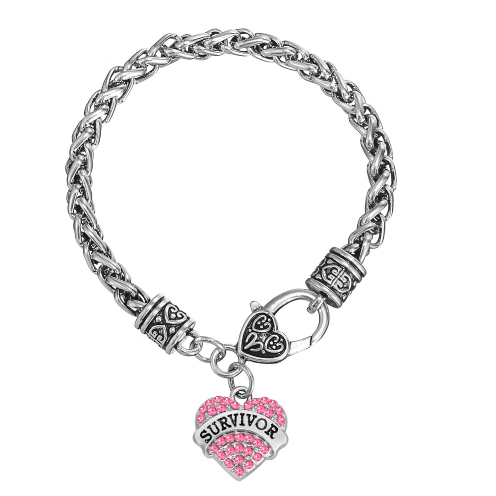 Minimal Brand Survivor Breast Cancer Pink Ribbon Crystal Heart Bracelet Jewelry
