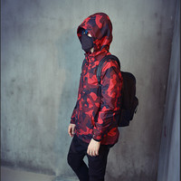 Retro street wind red camouflage loose hooded jacket Hiphop zipper baseball jacket Summer UV Protection Windbreaker Coats A52502