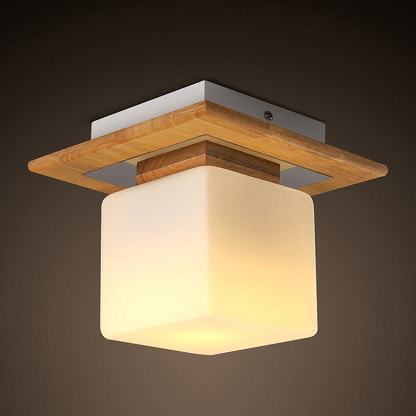 Modern Simple Solid Wood E27 Led Ceiling Light Creative Frosted Glass Bedroom Led Ceiling Lamp Novelty Square Corridor Led Light one light frosted glass antique rust hanging lantern
