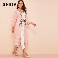 SHEIN Abaya Bohomian Pink Floral Embroidered Longline Kimono Women 3/4 Length Sleeve 2019 Spring Autumn Elegant Kimonos