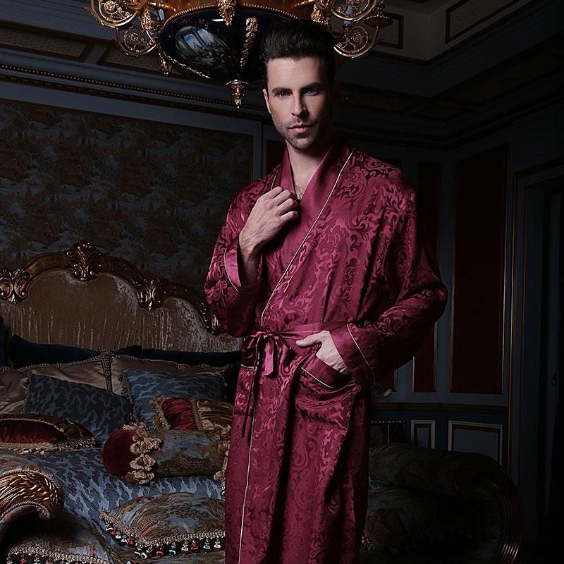 Sexy Genuine Silk Men's Sleeping Robes 100% Silkworm Silk Sleepwear Male Fashion Long-Sleeve Bathrobe High Quality Kimono 13167