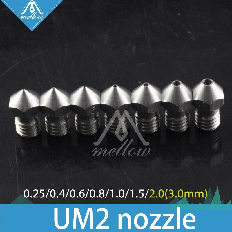 ¡Nuevo! 4 piezas/6 piezas/7 piezas 3D Ultimaker 2 + UM2 extendida hotend Olsson bloque de acero inoxidable boquilla para 1,75/3,0mm