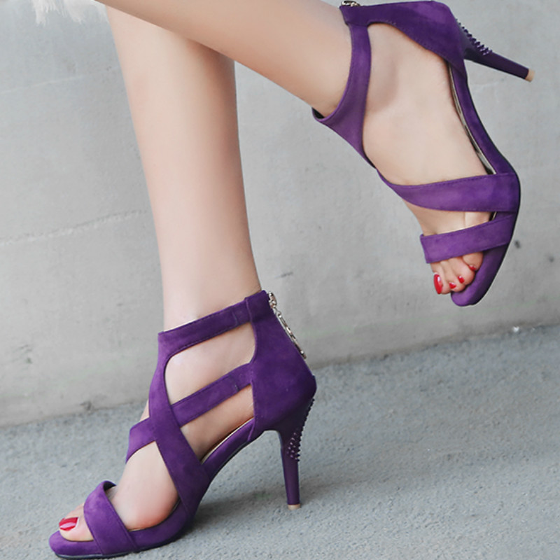 Womens High Heel Open Toe Sandals Shoes Footwear Purple Gladiators Rome Sandals Size 33 SANDALS Back ZipperWomens High Heel Open Toe Sandals Shoes Footwear Purple Gladiators Rome Sandals Size 33 SANDALS Back Zipper